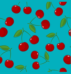 Seamless pattern cherry on azure background vector