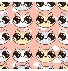 Seamless pattern with kawaii kittens vector