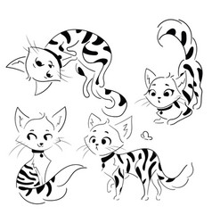 set cartoon cats collection cute spotted vector image