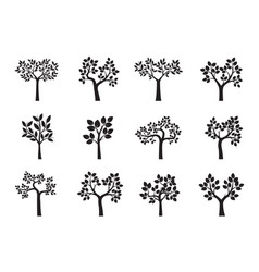 set of black trees and leafs vector image