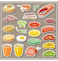 Set of grocery stickers Vegetables snack drinks vector image