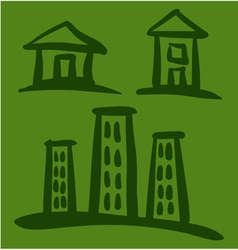 Set of House sketches on green background vector