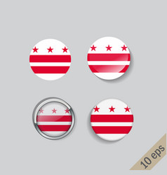 set round buttons with image district vector image