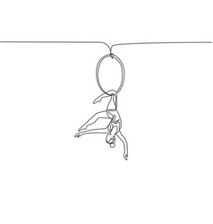 Single one line drawing an acrobatic woman who vector