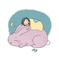 sleeping cartoon girl and cute bunny vector image