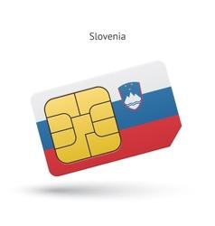 Slovenia mobile phone sim card with flag vector