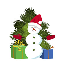 snowman standing near christmas tree and gifts vector image