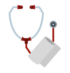 Stethoscope and paper icon flat style vector