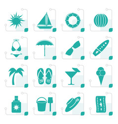 Stylized summer and holiday icons vector
