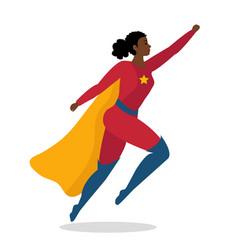 Superhero african woman cartoon character isolated vector