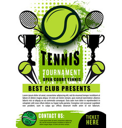 tennis ball rackets and trophy sport tournament vector image