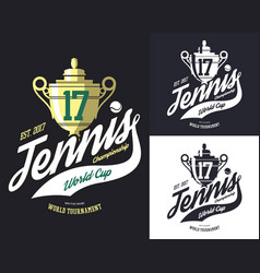 Tennis cup or trophy for sport tournament logo vector