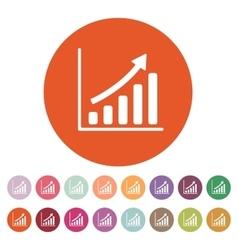 The growing graph icon Progress symbol Flat vector image