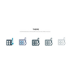 Theme icon in different style two colored vector