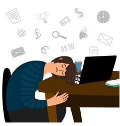 Tired girl fell asleep at office table vector