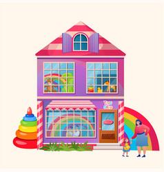 toy shop exterior market building cartoon flat vector image