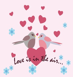 Two pigeons with love heart vector