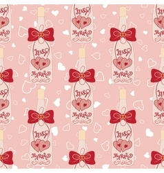 Wedding seamless pattern Bottle of champagne with vector image
