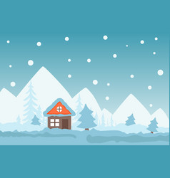 Winter scene with cozy cottage in mountains snowy vector
