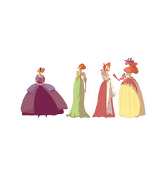 Women in standing pose wearing old-fashioned dress vector