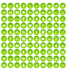 100 hacking icons set green circle vector image vector image