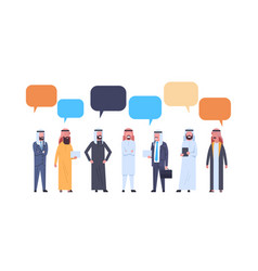 arabic men group with chat bubbles over white vector image