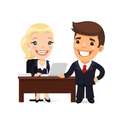 Boss and Secretary Planning Business Day vector image