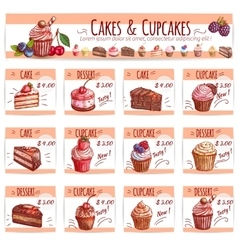 Cake menu template for bakery pastry shop design vector image vector image