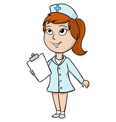 Cartoon nurse with blank tablet vector image