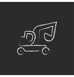 Excavator truck icon drawn in chalk vector image