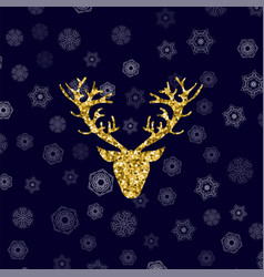 gold glitter deer head with branched horns vector image vector image