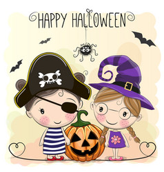 halloween card with two girls vector image