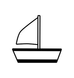 outline sailing ship recreation travel beach vector image
