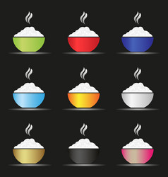 various color asian food bowl with hot rice fodd vector image