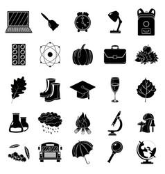autumn school icon set black and white style vector image