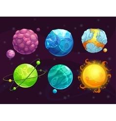 Cartoon fantasy alien planets set vector image vector image