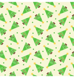 Emoji christmas trees seamless pattern background vector image vector image