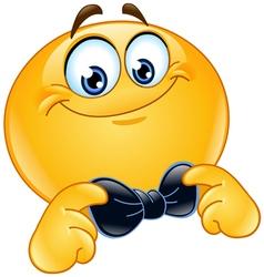 emoticon with bow tie vector image vector image