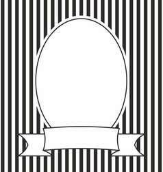 Hand drawn photo frame on black and white stripes vector image vector image