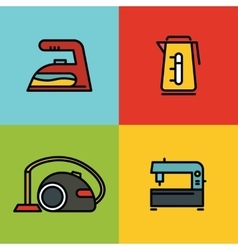 Household appliances color icons on background vector image vector image