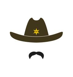 sheriff face icon isolated on white background vector image
