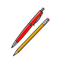 simple hand drawn ball point pen and pencil vector image vector image