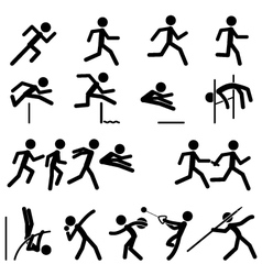 Sport Pictogram Icon Set 02 Track and Field vector image vector image