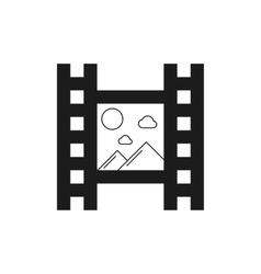 black film icon with mountains vector image vector image