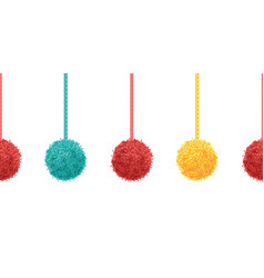 Colorful decorative pompoms with ropes vector