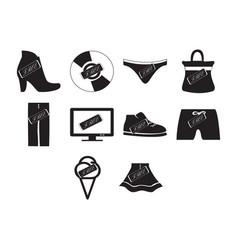 flat black free icon set vector image