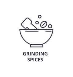 grinding spices line icon outline sign linear vector image