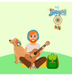 Hippie barefoot man with dog vector