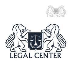 Legal center icon of heraldic lions laurel vector