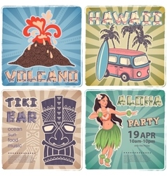 Retro set of banners with Hawaiian symbols vector image